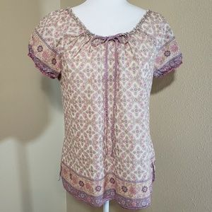 Lucky Brand Cinched Scoop Neck Peasant Top